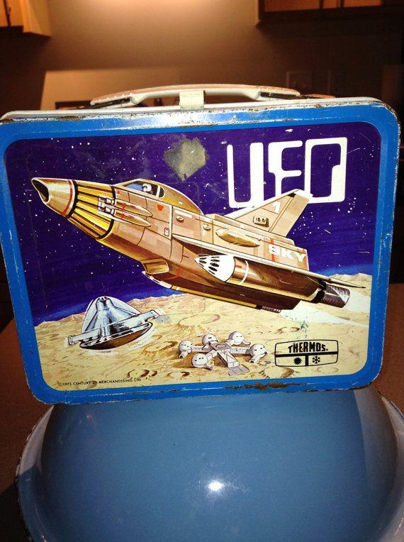 Vintage 1973 thermos marque UFO espace déjeuner métal boîte LB