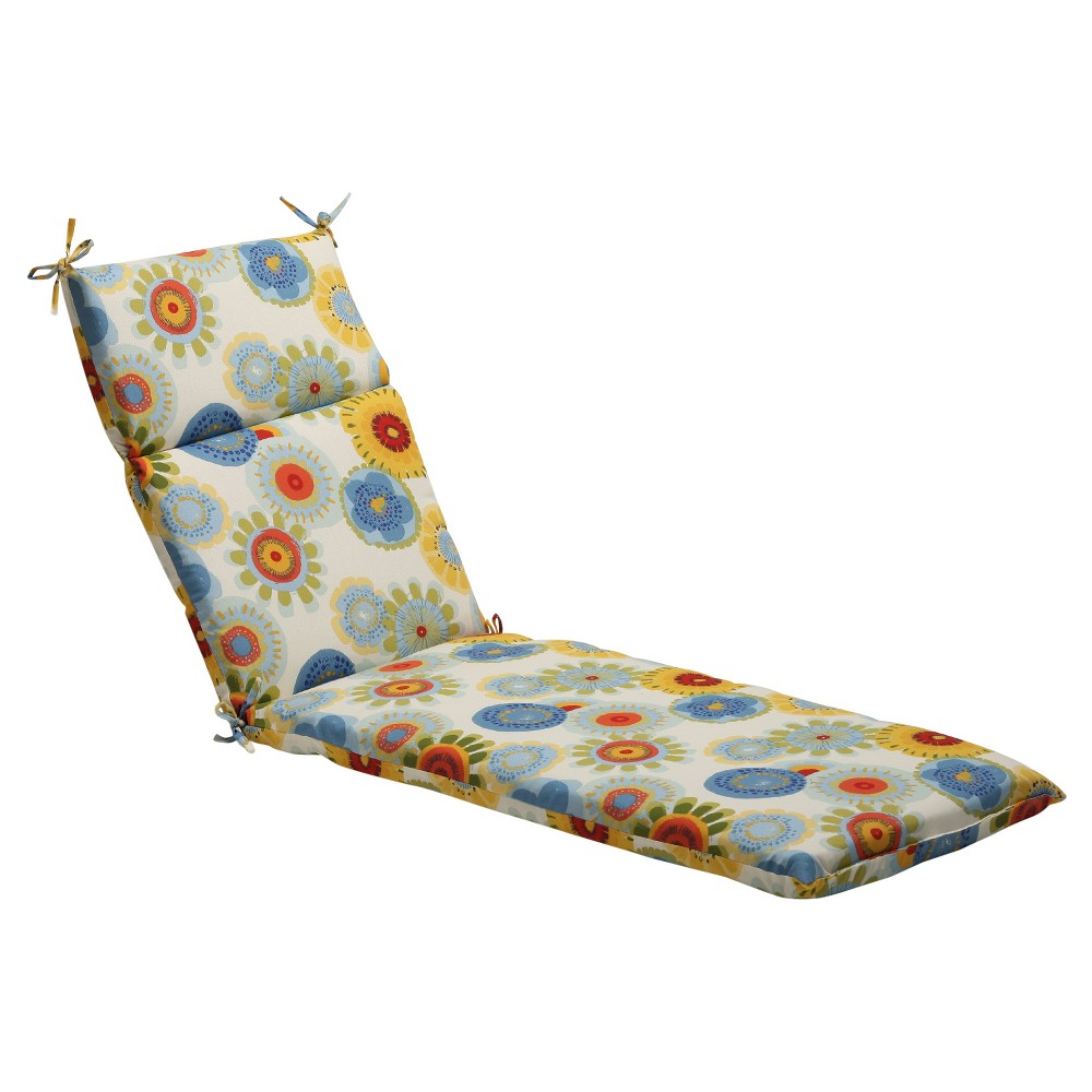 Outdoor Chaise Lounge Cushion Blue/White/Yellow Floral
