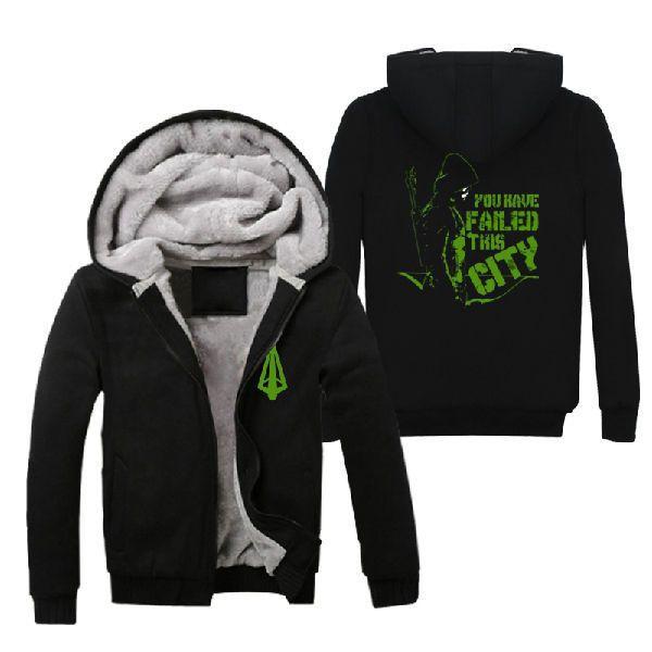 TV Series Green Arrow Oliver Queen Hoodies Zip up Coats Super Warm Sweatshirts