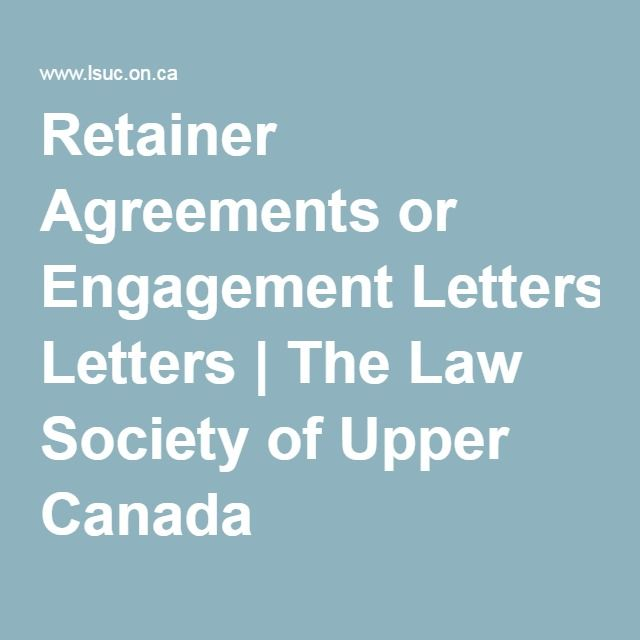 Retainer Agreements Or Engagement Letters  The Law Society Of