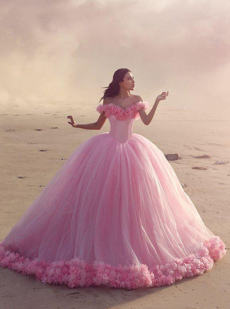 Ball gown offtheshoulder pink tulle wedding dress with flowers