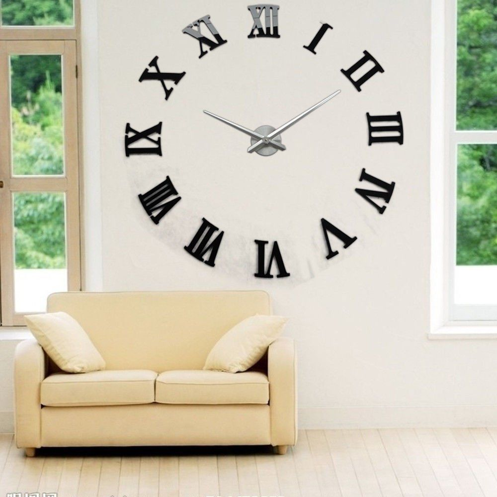 Modern Diy Large Wall Clock Mirror Surface Sticker Home Decor Art Design Gl