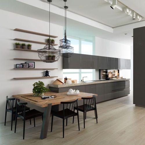 moderne Küche / Laminat / aus Eiche / lackiert Küche Pinterest