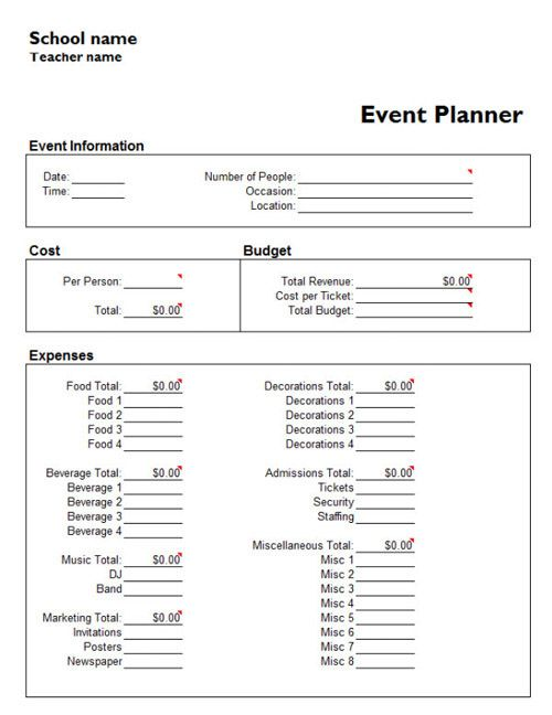 event planner Tasty Events Pinterest Microsoft excel - event template word