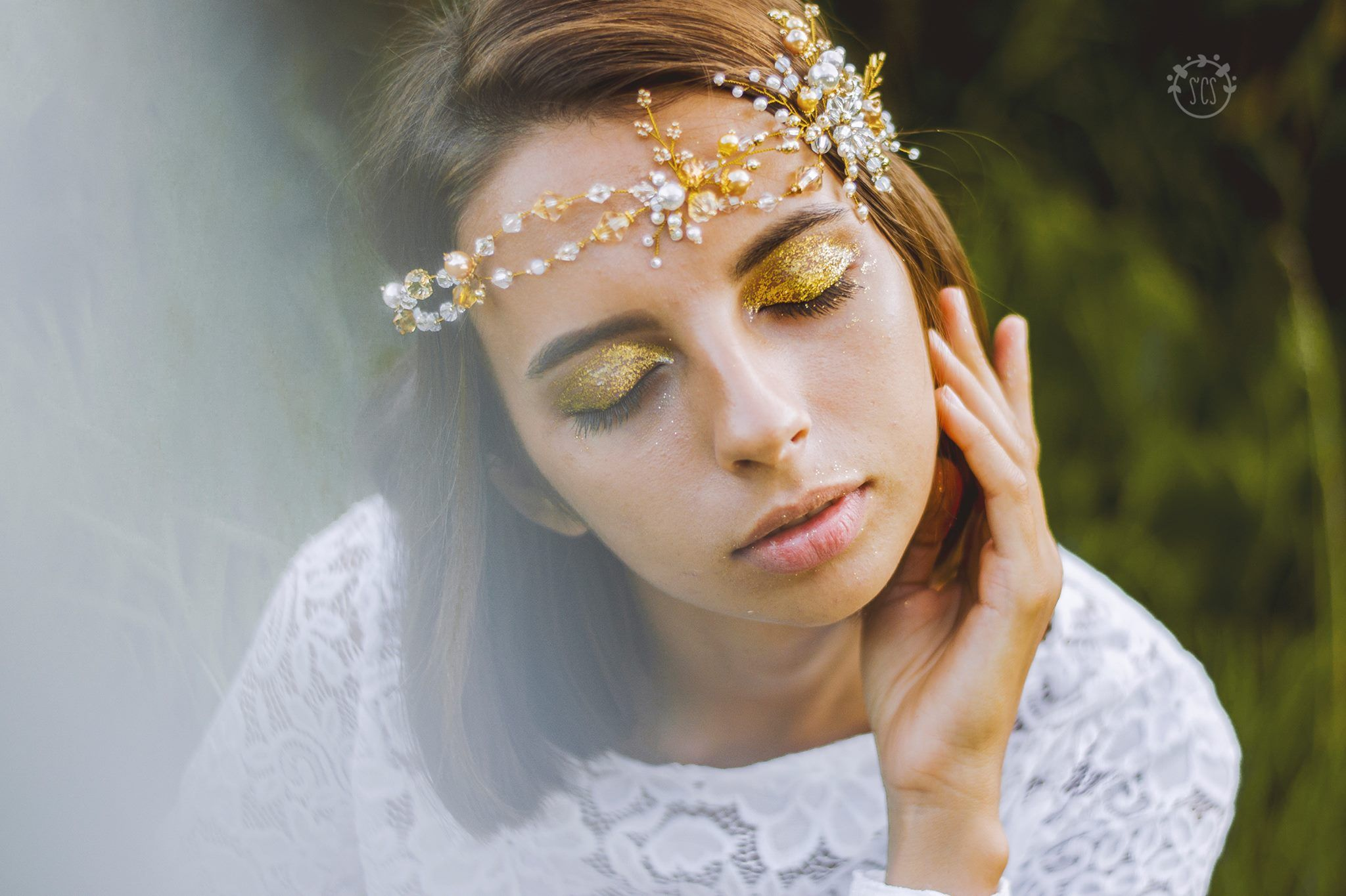 wedding golden cream white beads circlet bride wreath engagement