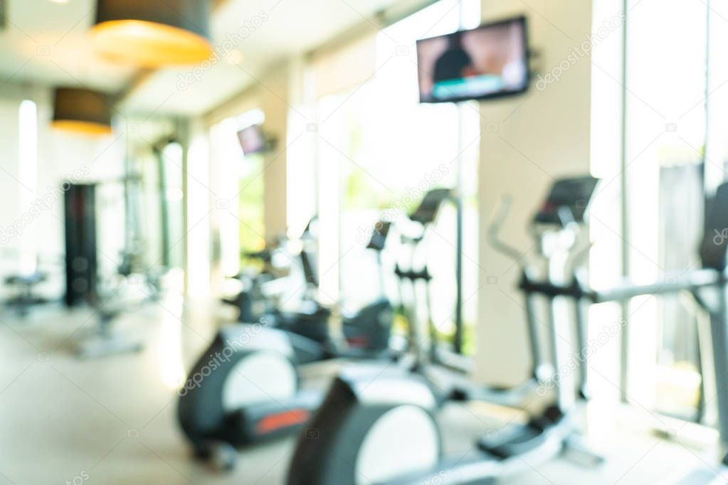Abstract and defocused fitness equipment in the gym interior - Stock Photo #Aff ..., #Abstract #AFF...