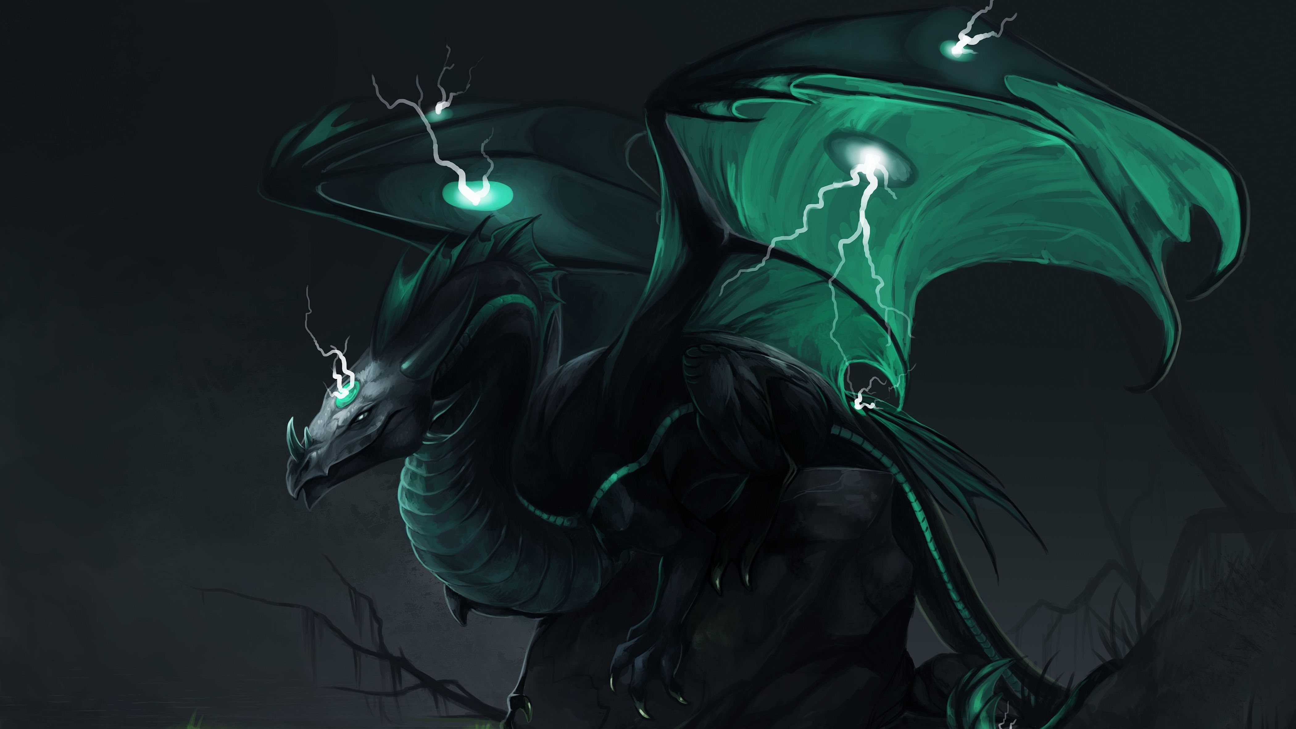 Fantasy Dragon Lightning Dark Fantasy Wallpaper Sarkanyok