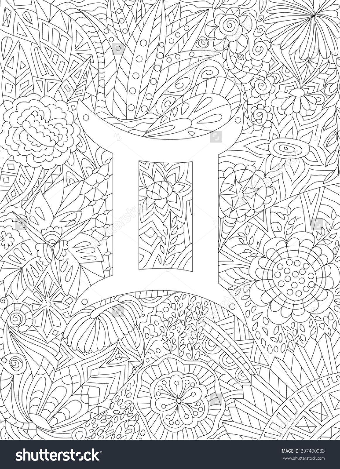 Zodiac Sign Gemini Floral Geometric