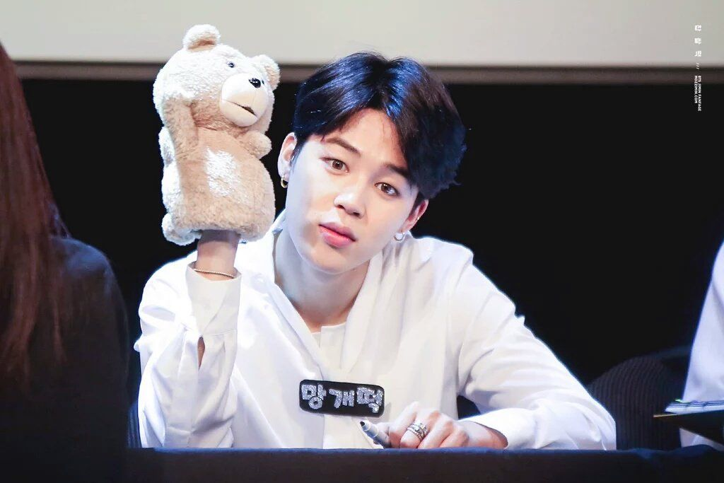 "chee on Twitter: ""jimin and his cute little ted puppet :( https://t.co/M0DKeBdWP8"""