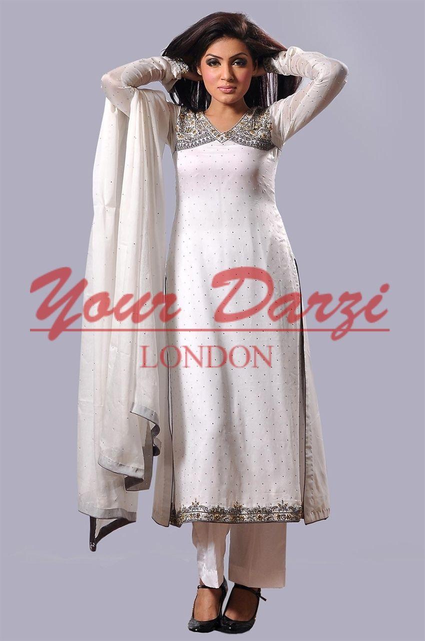 Dazzle in Pure crinkle white chiffon with diamante @ ₤133.00