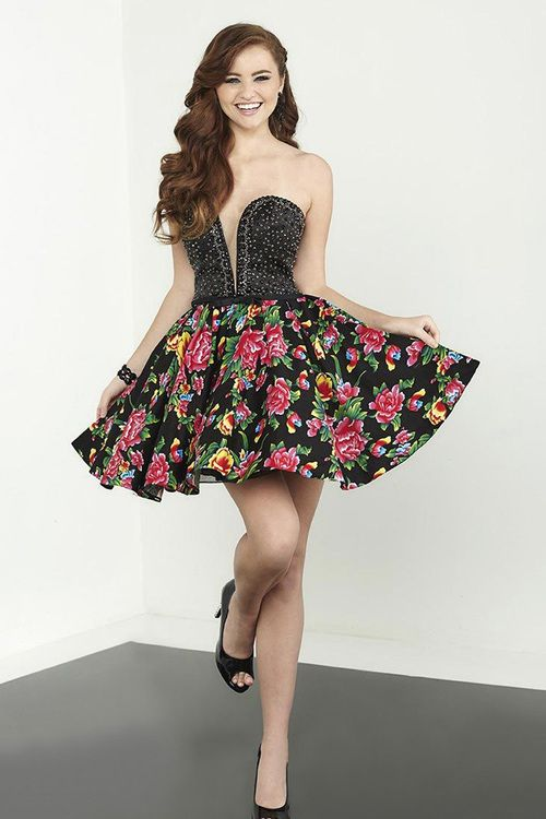 2a09bb0a94 Tiffany Homecoming - 27083 Strapless Embellished Floral Printed Cocktail  Dress in Black and Floral