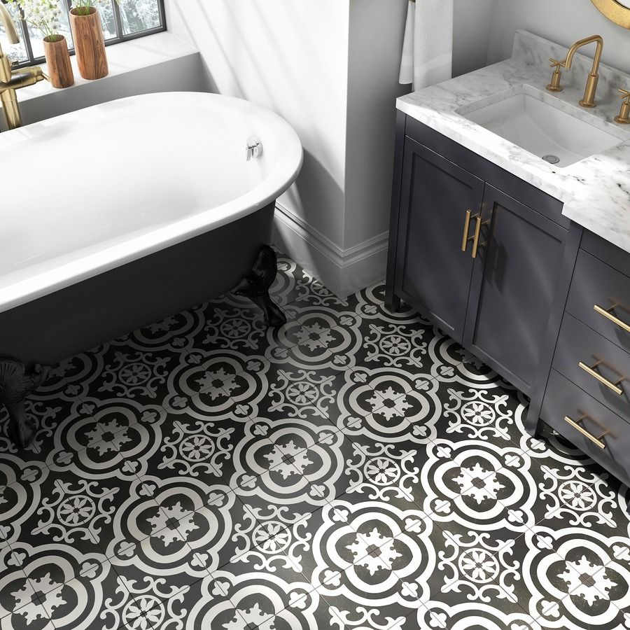 A patterned floor tile gives this bath the look of luxury click a patterned floor tile gives this bath the look of luxury click to shop this dailygadgetfo Gallery