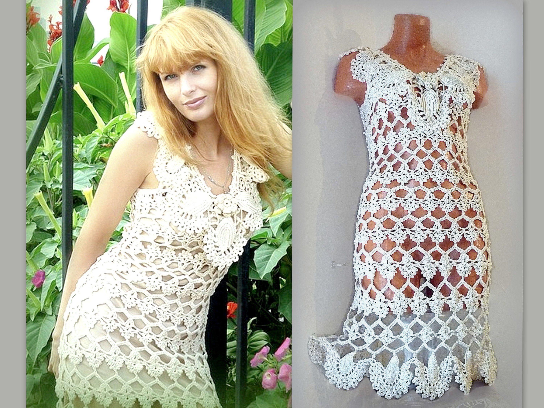 Boho beach wedding dress ivory ecru cotton lace dress country rustic