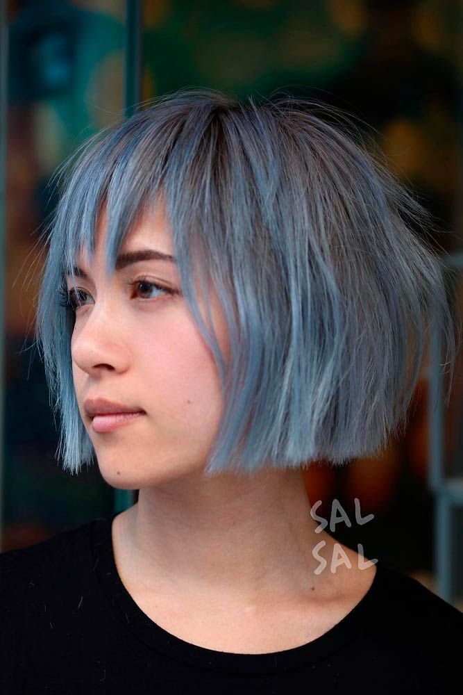 Straight Bob With Bangs #bluehair #layeredhair ★ Do you