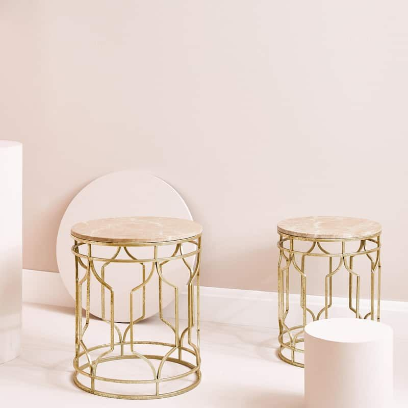 Marble Table With Gold Structure Set Of 2 Furniture