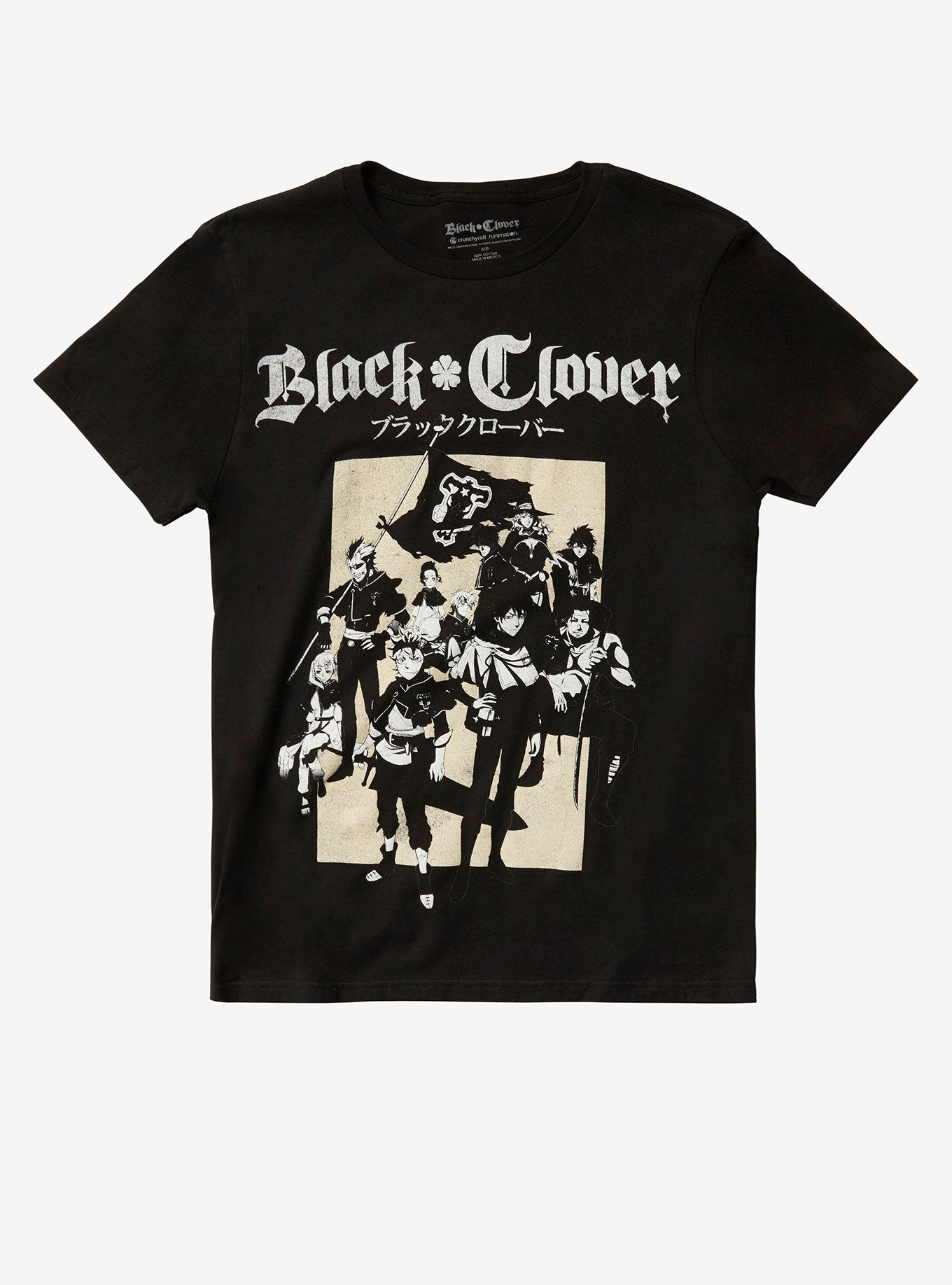 Black clover group tshirt hot topic exclusive clover