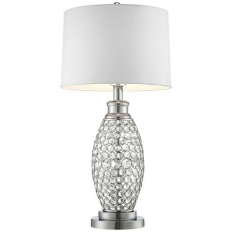 Possini Euro Design Beaded Table Lamp With White Shade V0785 Lamps Plus Crystal Table Lamps Possini Euro Design Table Lamp