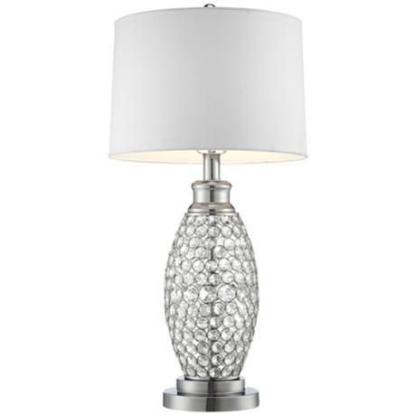 Possini Euro Design Beaded Table Lamp With White Shade V0785 Lamps Plus Possini Euro Design Crystal Table Lamps Glam Table Lamps