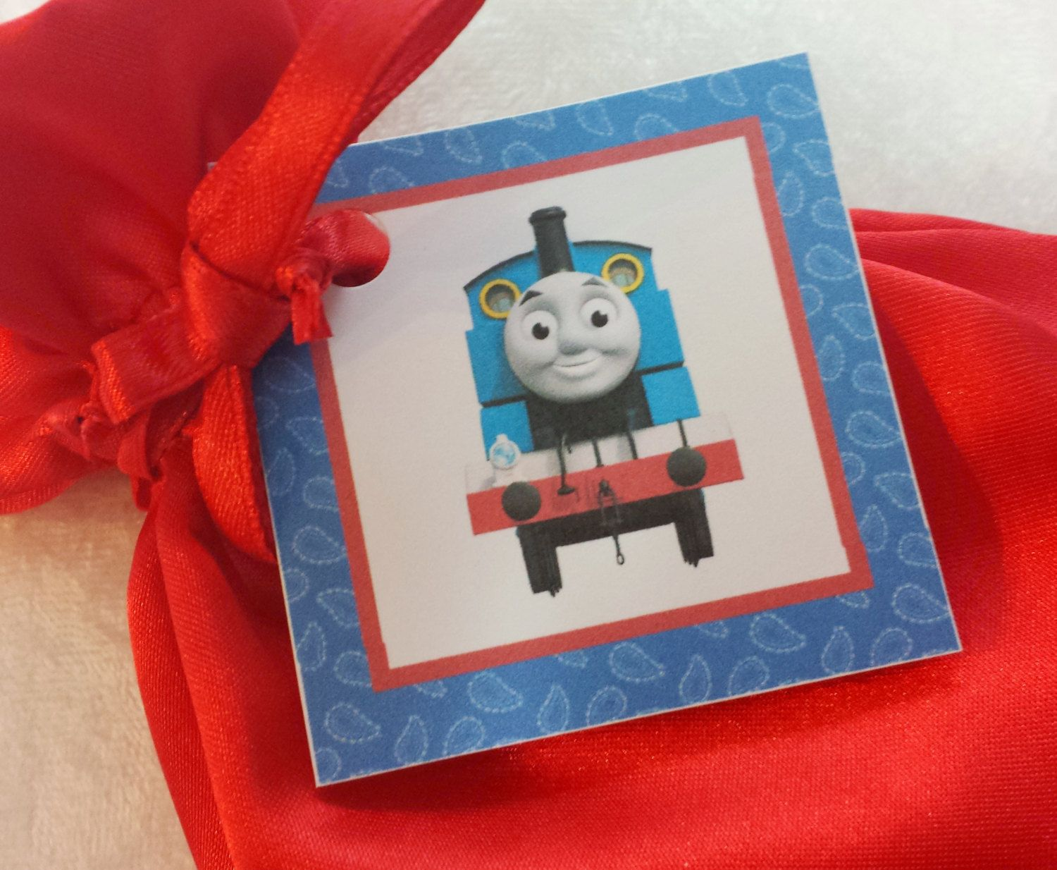 PARTY PACK Sets of 6 to 12 - Thomas the Train Red Favor Bags (Filled) by TeatotsPartyPlanning on Etsy
