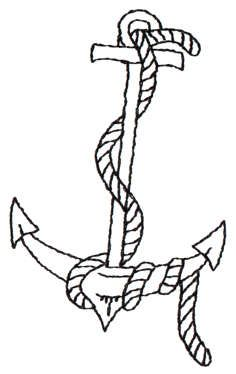 Nautical Anchor Rope Outline Redwork Machine Embroidery Design