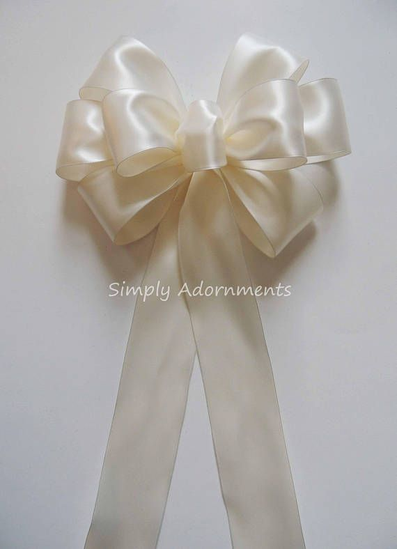 Set Of 6 Bridal White Satin Wedding Pew Bows Bridal White July 7