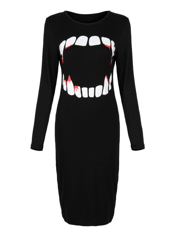 Black fierce vampire mouth print midi bodycon dress products