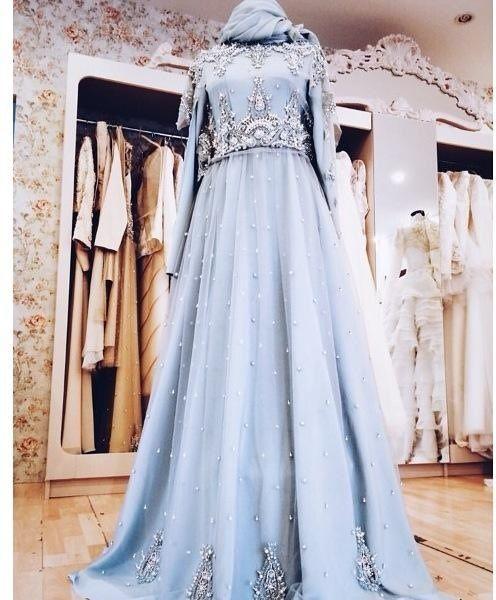 Uzun Kollu Acik Mavi Tesettur Elbise Cok Sik Bir Elbise Muslim Wedding Dresses Muslim Dress Bridal Dresses
