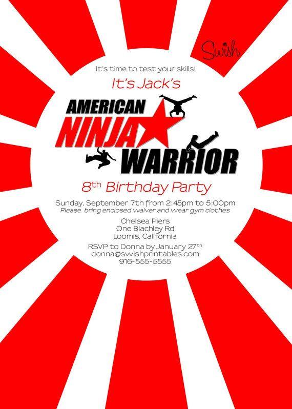 American Ninja Warrior Digital Birthday by SwishPrintables ...
