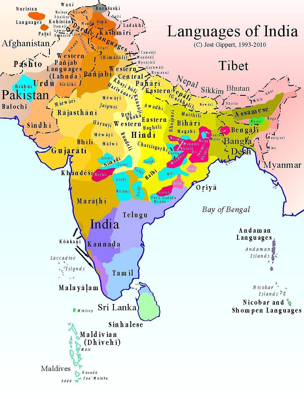 Languages Of India X Language India And History - Pakistan language map