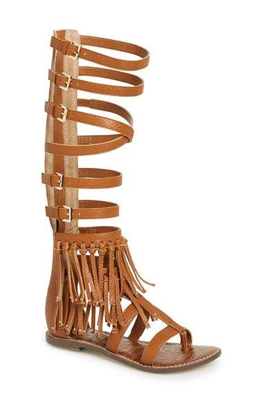 17edeabb93b2eb Sam Edelman  Gardenia  Tall Gladiator Fringe Leather Sandal (Women ...