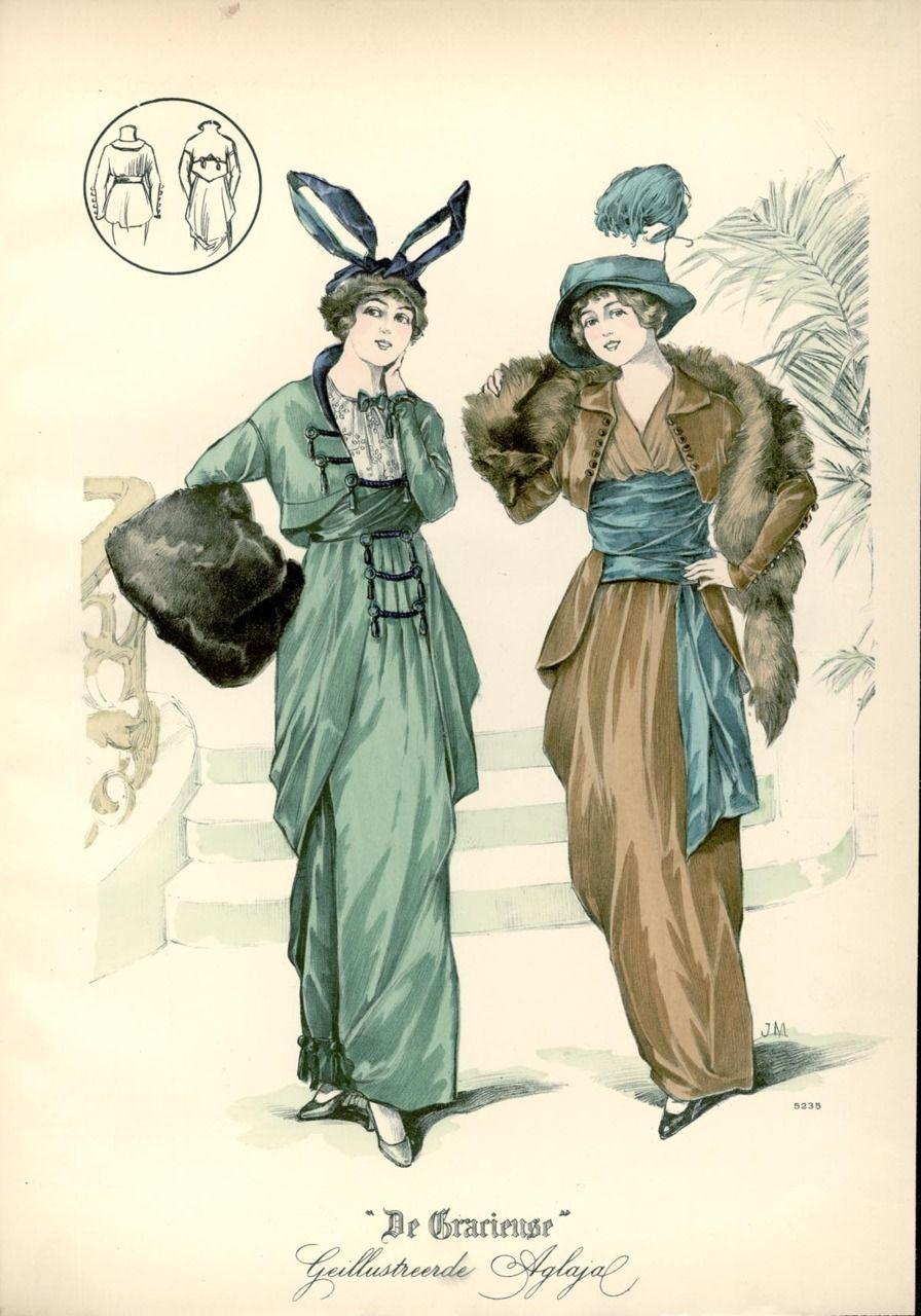 Ensembles 1913 The Netherlands De Gracieuse Fashion Illustration Vintage Edwardian Fashion Fashion Plates