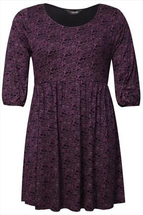 Purple And Black Snake Print Tunic With 3/4 Sleeves