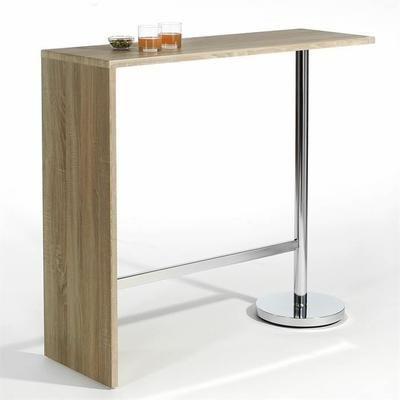 Table Haute De Bar Ricardo Decor Chene Sonoma Table Haute Bois Table Haute Table Bar Cuisine