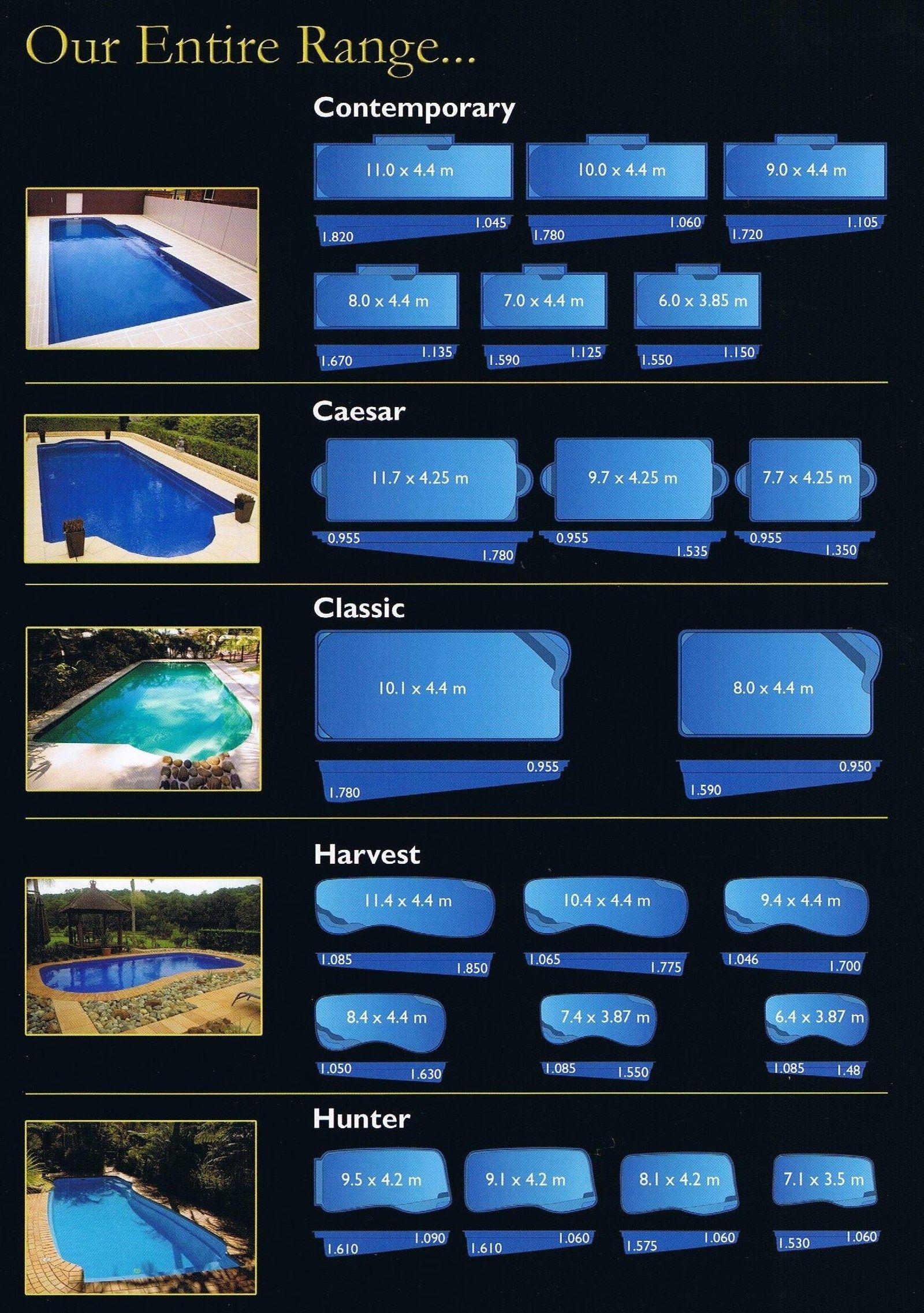 Pool Range Fiberglass Swimming Pools Sydney Fibreglass Swimming Pools With Images Fiberglass Swimming Pools Pool Sizes Inground Swimming Pools Backyard
