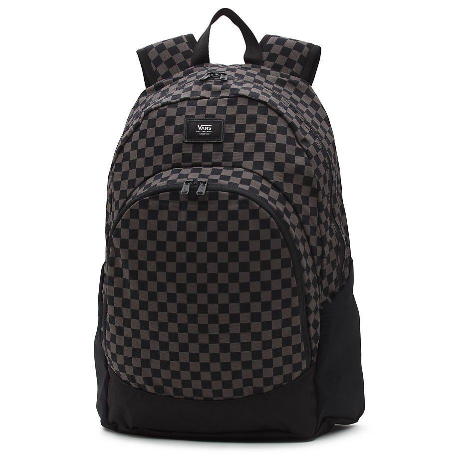 vans checkerboard van doren backpack charcoal/black