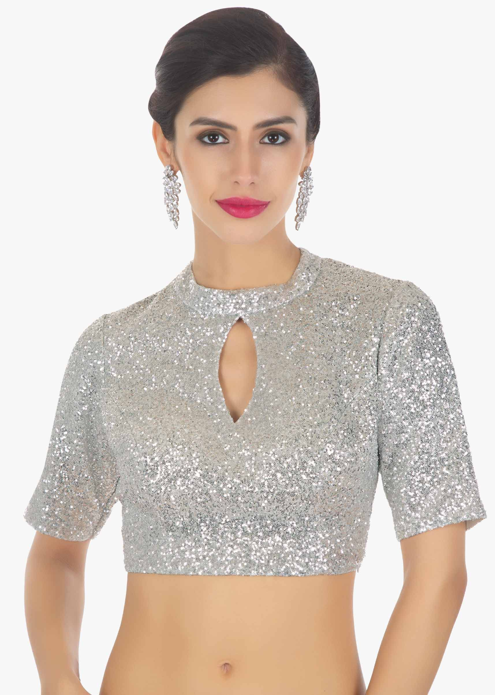 5fbce470e9f9ad Silver sequins high neck blouse with front in key hole only on Kalki ...