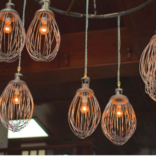 13 Brilliant Kitchen Lighting Ideas: Hobart Whisk Attachments As Pendant Lights... Brilliant