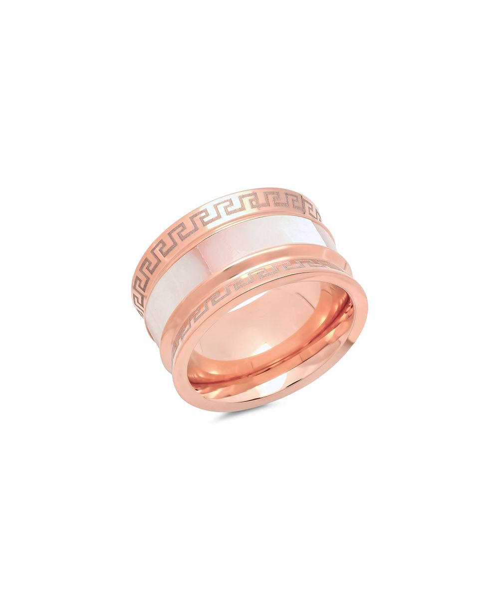Mother-Of-Pearl & Rose Goldtone Geometric Ring