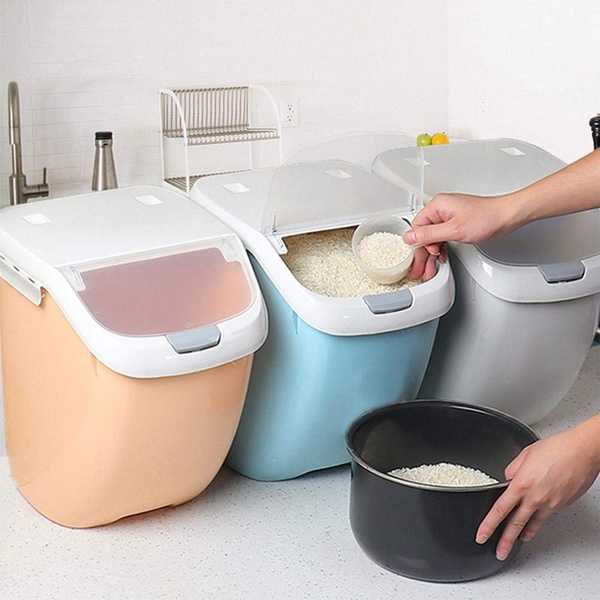 6kg 10kg 15kg Moisture Proof Dry Food Sealed Box Rice Storage Container Kitchen Organization Wish In 2020 Grain Storage Fruit And Vegetable Storage Flour Container