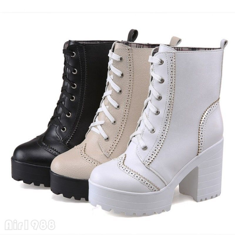 f07ff2d3894 Fashion Women Brogues Ankle Boots Lace Up Chunky High Heels Platform Biker  Boots