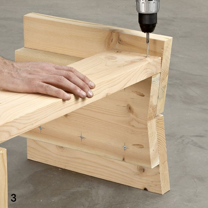 Kitchen Table With Bench Seat: Driving Screw Into Bench Seat