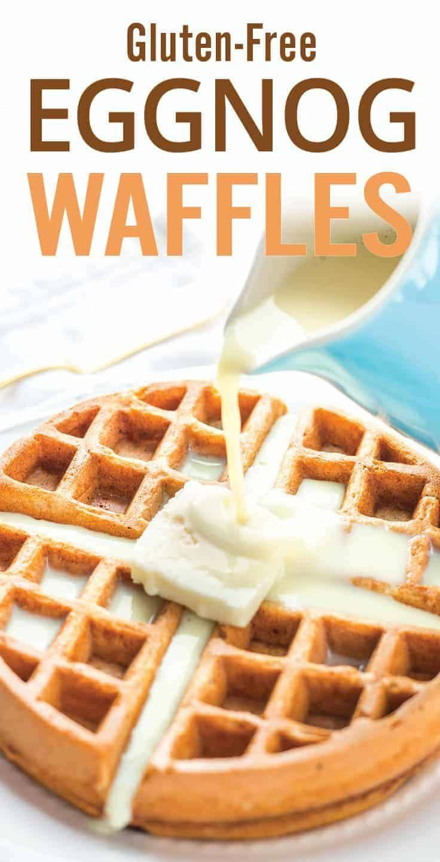 Easy gluten free Eggnog Waffles. Holiday themed breakfast recipe with oat flour waffles, eggnog, nutmeg, cinnamon and banana. A gluten-free and healthy treat. via @platingpixels