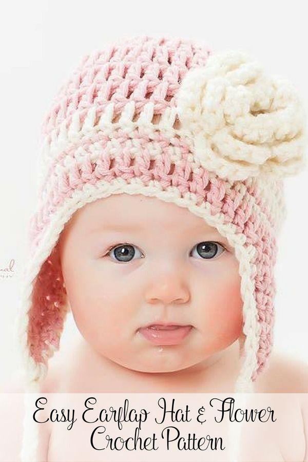 Crochet Pattern Easy Crochet Earflap Hat Pattern Crochet Flower