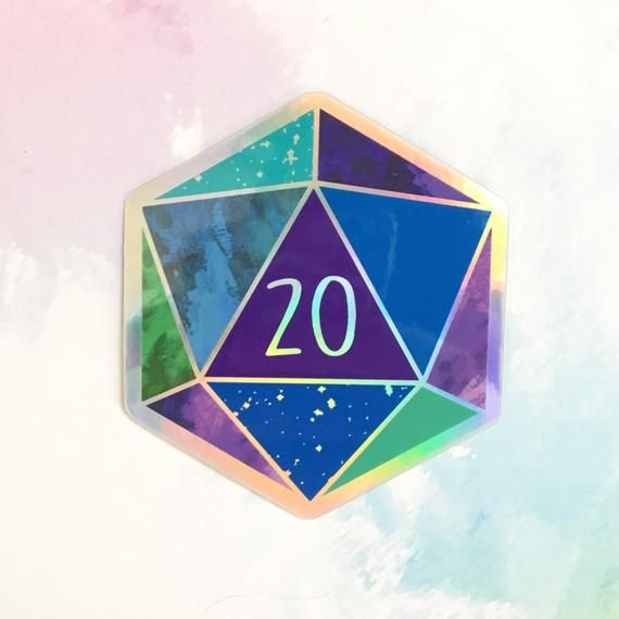 Blue d20 Nat 20  Holographic Hexagon Sticker | Etsy
