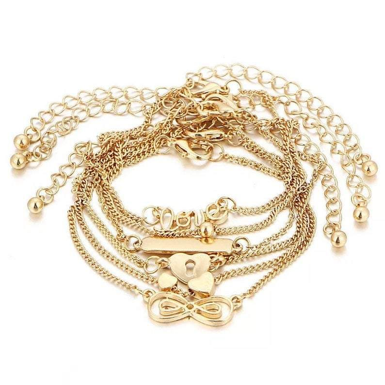 6 Piece Gold Anklet Set Heart InfinityAnklet lovers, we have a gorgeous anklet just for you with our 6 Piece Gold Anklet Set Heart Infinity.It is lightweight, fashionable and affordable while helping a good cause.The anklet has a 6 piece design and looks better on than it does on the pictures! Especially with the heart anklets.Women's & children's anklets and jewellery are our real speciality and hobby so don't forget to also check out the rest of the collections as you might find a few earr