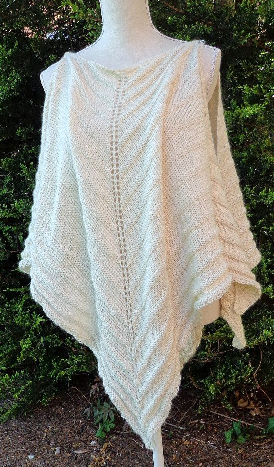 Belinda Harris-Reid design collection - SWOOSH! - PONCHO, or little dress - two shawls in one - joined at the sides with buttons, hand-knit, download pattern, thin double knitting yarn, LIGHT Silky, alpaca and silk
