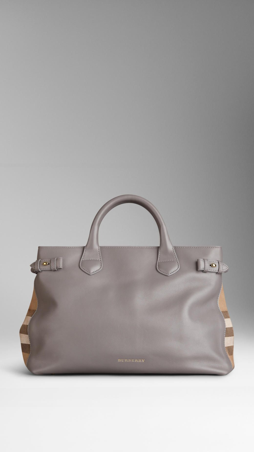 Burberry Medium House Check Detail Leather Tote Bag 387c9f74469f0