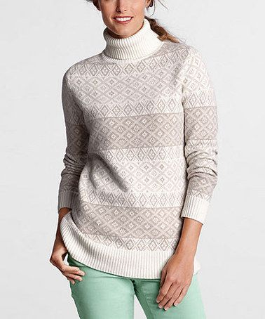 Take a look at this Ivory Fair Isle Wool-Blend Turtleneck Sweater ...