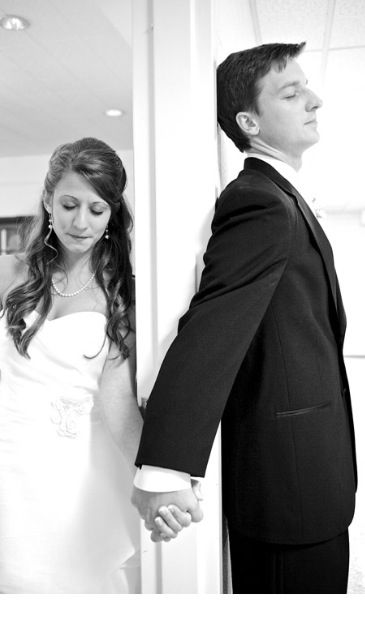 Wedding Pray Before Ceremony But Hold Hands At A Door Frame So You