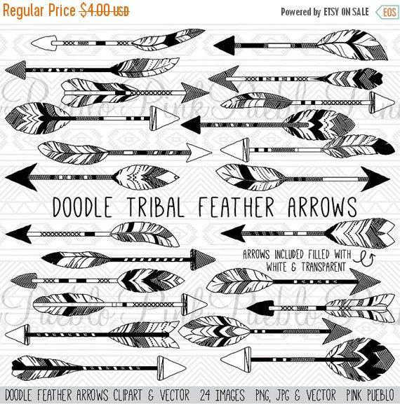 Doodle Feather Arrows Clipart Clip Art Vectors Rustic Tribal Etsy Arrow Clipart Clip Art Tribal Feather